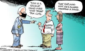 Political Cartoon U.S. Biden taxes