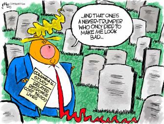 Political Cartoon U.S. Trump coronavirus deaths