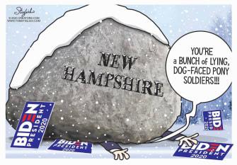 Political Cartoon U.S. New Hampshire primary Biden loss crushed