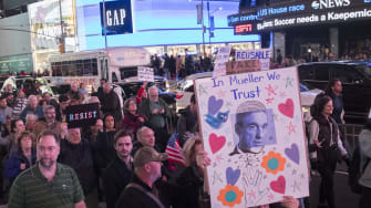 Protesters in New York City on Thursday night.