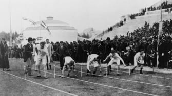 Sprinters line up at the starting line of the 1896 Olympic Games in Athens, Greece