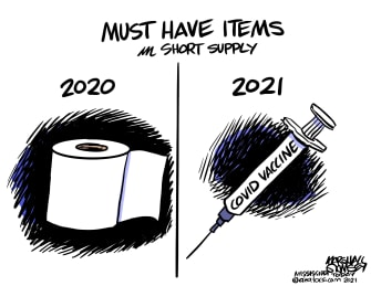 Editorial Cartoon U.S. 2020 2021 covid vaccine toilet paper