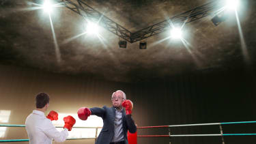 Bernie Sanders wears boxing gloves to fight corporate health care and defend Medicare for All