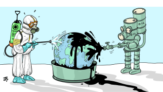 Editorial Cartoon World OPEC oil spree coronavirus disinfection hazard