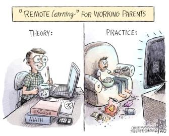 Editorial Cartoon U.S. Covid remote learning