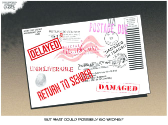 Political Cartoon U.S. 2020 election vote by mail