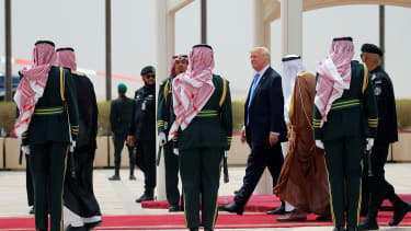 President Trump is greeted by the royal Saudi family.