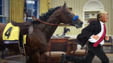 An illustration showing American Pharaoh chasing after Donald Trump.