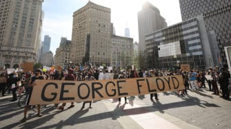 Protesters demonstrate against the death of George Floyd.