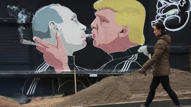 A mural of Donald Trump and Vladimir Putin