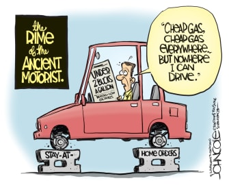 Editorial Cartoon U.S. cheap gas stay at home no driving