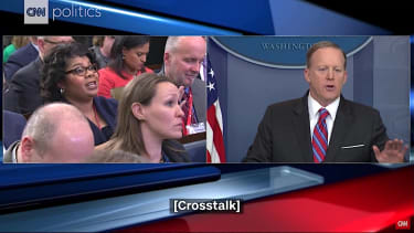 Sean Spicer tells a reporter to stop shaking her head
