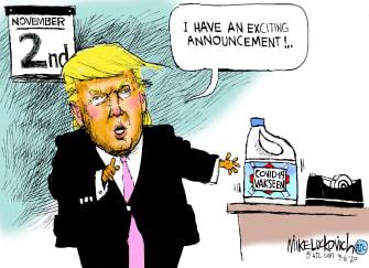 Political Cartoon U.S. Trump COVID vaccine bleach