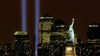 Two columns of light symbolize the fallen World Trade Center towers in a tribute in light September 11, 2003 in New York City