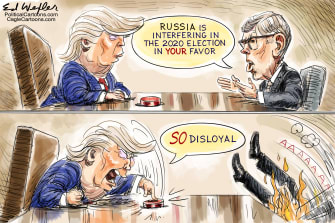 Political Cartoon U.S. Russian meddling 2020 election Trump Joseph Maguire