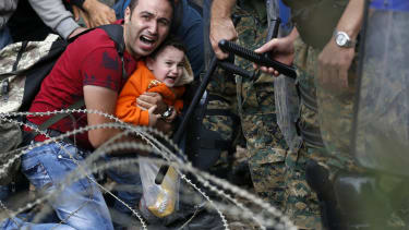 Migrants and Macedonian police clash near the border of Idomeni, Greece.