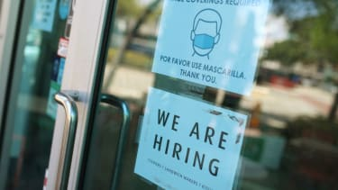 A 'we are hiring' sign in front of a store on March 05, 2021 in Miami, Florida.