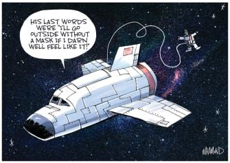 Editorial Cartoon U.S. anti lockdown protesters masks coronavirus