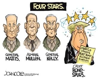 Political Cartoon U.S. Four star generals Trump Mattis