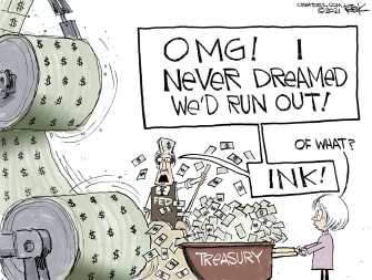Editorial Cartoon U.S. treasury biden covid stimulus