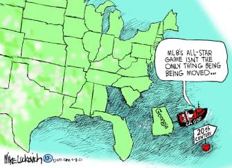 Political Cartoon U.S. georgia voting law