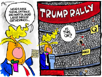 Political Cartoon U.S Trump coronavirus rally
