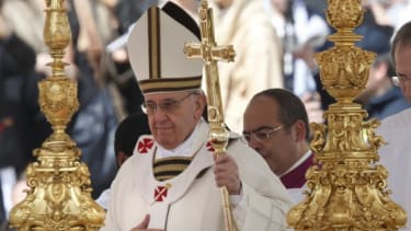 Pope Francis takes part in his inaugural mass in Saint Peter's Square at the Vatican, March 19.
