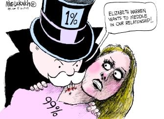Political Cartoon U.S. Elizabeth Warren Billionaire Money