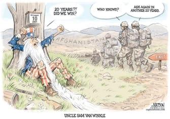 Editorial Cartoon U.S. afghanistan withdrawal rip van winkle