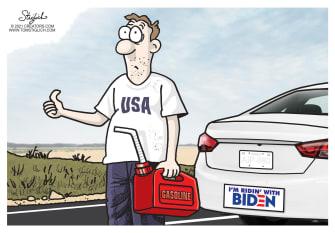 Political Cartoon U.S. biden gas prices