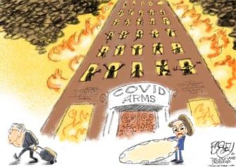 Political Cartoon U.S. Mitch McConnell Nancy Pelosi Coronavirus Relief Evictions