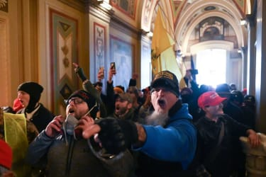 Trump supporters inside the Capitol on Jan. 6.