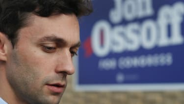 Jon Ossoff at a campaign office