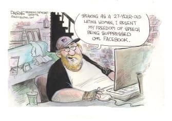 Editorial Cartoon U.S. Facebook qanon suppression