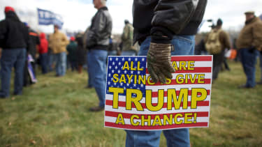 """Supporters of President Trump gather for a """"People 4 Trump"""" rally."""