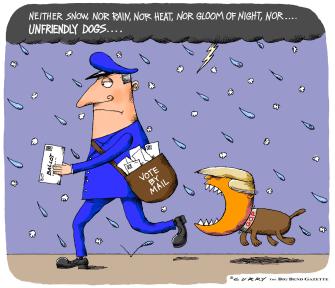 Political Cartoon U.S. Trump USPS vote by mail