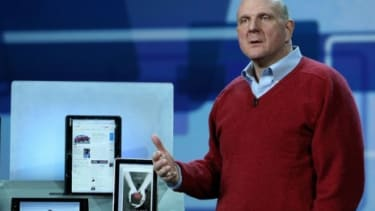 Microsoft CEO Steve Ballmer presented versions of the company's Slate computers earlier this year.