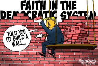 Political Cartoon U.S. Trump wall election