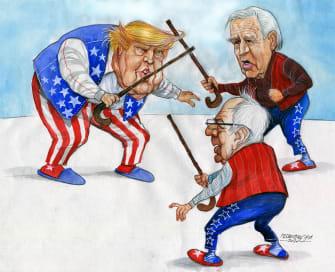 Political Cartoon U.S. Trump Joe Biden Bernie Sanders 2020 election presidential nominees fighting