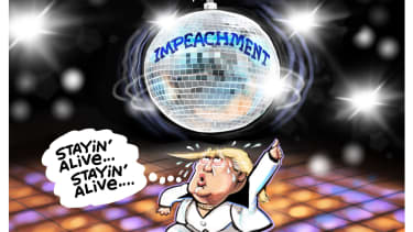Political Cartoon U.S. Trump Stayin Alive Saturday Night Fever Impeachment