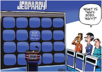 Editorial Cartoon U.S. Alex Trebek Jeopardy! Death 2020