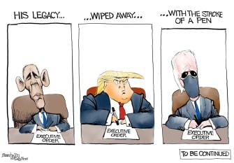 Political Cartoon U.S. Obama Trump Biden legacy