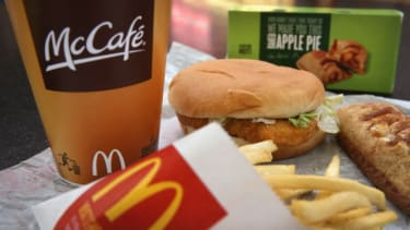 A McChicken and other McDonald's items.