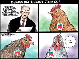 Political Cartoon U.S. zoom call kitten trump impeachment
