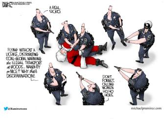 Editorial Cartoon U.S. Santa Arrest Charges