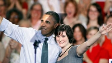 Sandra Fluke introduces President Obama during a campaign stop Aug. 8