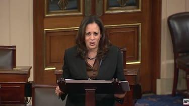 Sen. Kamala Harris talks on Senate floor
