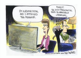 Political Cartoon U.S. 2020 election media Russian meddling