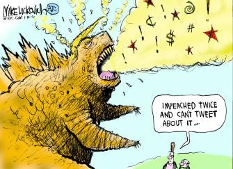 Political Cartoon U.S. Trump twitter ban second impeachment