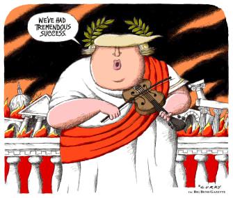 Political Cartoon U.S. Trump Nero fiddling coronavirus